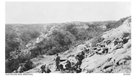 Russell's Top, Pope's Hil and Quinn's Post 1915. Photographer Bean C.E.W., photograph source AWM G01005