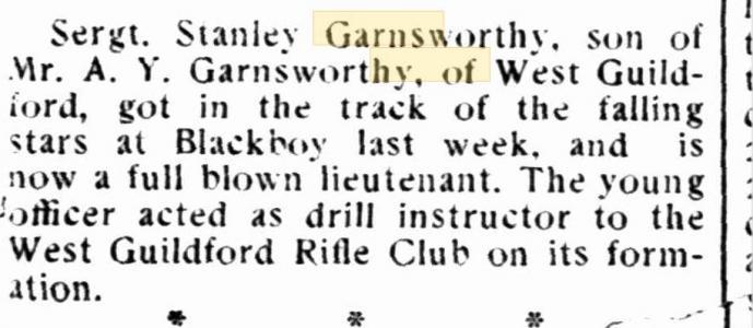 S.Y. Garnsworthy. Camp Chronicle. Midland 6.4.1917 p5