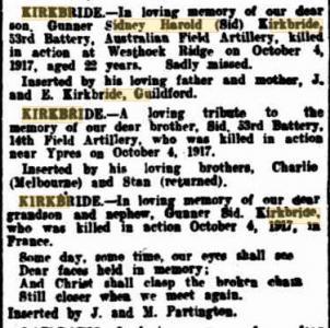 S.H. Kirkbride. Image source West Australian Newspaper. Family Notices  4.10.1919 p1