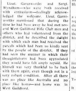 S.Y. Garnsworthy. Swan Express. Welcome home. 6.9.1918 p6