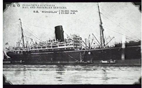 SS 'Mongolia'. Photograph of postcard, source AWM 30367 Naval Collection