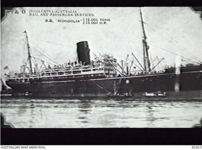 SS 'Mongolia'. Postcard, photograph source AWM 303637 Naval History Collectio