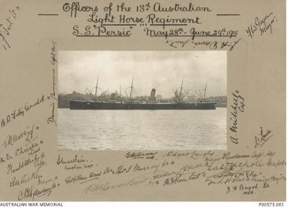 SS 'Persic' A37. Phootgraph donor Estate of Miss Phyllis Litherland,  photograph source AWM P00575.001