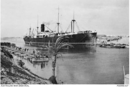 SS 'Suffolk' in Suez Canal 1916. Photographer unknown, photograph source AWM P00998.027