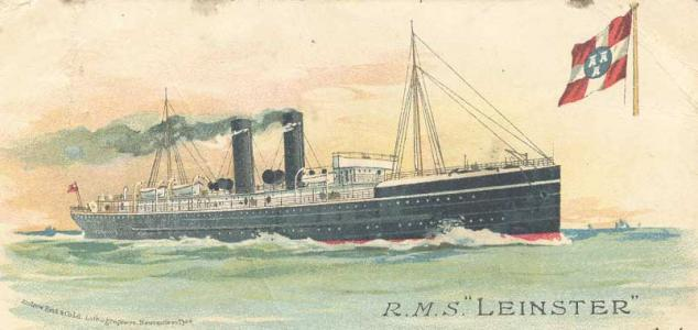 SS Leinster. Post card by Andrew Read, lithographers Newcastle on Tyne