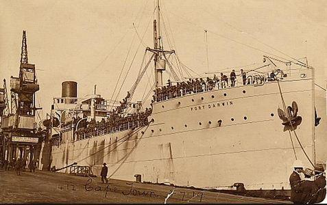 SS Port Darwin, South Africa. Photographer unknown, photograph source' Don't forget the diggers'