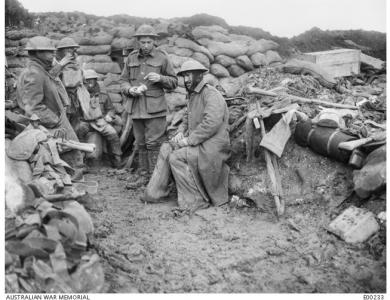 Sandbagged legs and feet to prevent tench foot and leg damage due to damp, trenches at L'Abbaye Somme. Photographer unknown photograph source AWM E0023