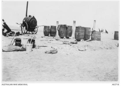 Sanitary Section Fumigators for delousing blankets and uniforms. Suez 1916.  Photograph sourceAWM A02718