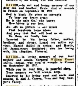 W E.E.J. Davies.Obituary. West Australian 26.9.1918. Family Notices p1