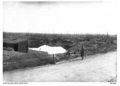 Shell craters at Pozieres 1916. Photographer unknown, photograph source AWM E00508
