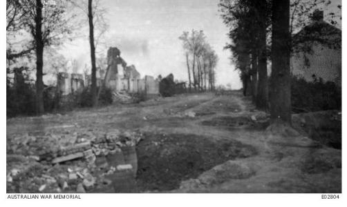 Shell damage Meteren village 1917. Photographer unknown, photograph source AWM E02804