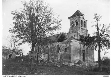 Shell damaged church at Joncourt .The Village was captured by allied forces on October 1st 1918. Photographer unknown, photograph source AWM E03770