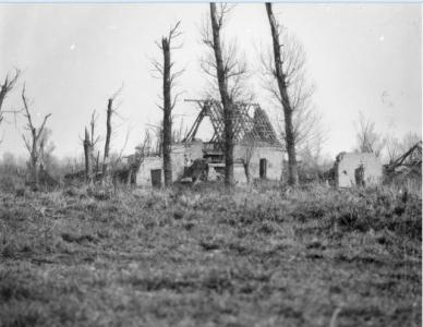 Ruined farm on the Fromelles battlefield- damaged in action July 19-20th 1916 battle. Photographer unknown, photograph source AWM E04039