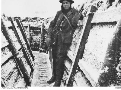 Soldier in Spain Avenue Houplines Sector, Armentieres, December 1916. Photographer unknown, photograph AWM H16988