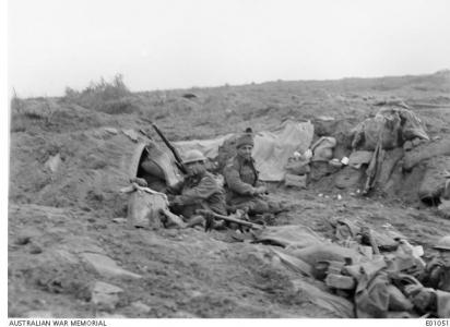 Soldiers in a shelter, Broodseind eRidge October 1917. Photographer unknown, photograph source AWM E0105