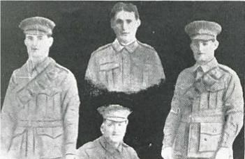 Sons of Thomas  Fry. L-R Thomas, Herbert, Charles and son-in-law Albert Lean in front. Photo reproduced with permission of Hesperian Press 2014 p78