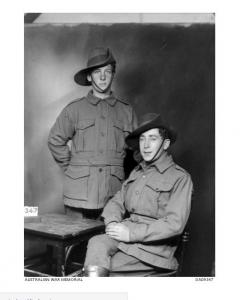 Image purported to be Spr. Gordon Thomas Wilson and another Pte. at Broadmeadows 1915. Photo source AWM DA09347