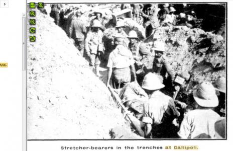 Stretcher bearers at Gallipoli. Photographer unknown, photograph source Western Mail 25.12.1915 p1
