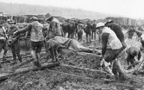 Stretcher bearers bringing in the wounded at from the Albert- Bapaume area of the Somme December 1916. Photographer unknown, photograph source AWM E00049