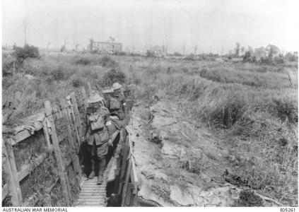 Stretcher bearers in the trenches at Ypres 1917. Photographer unknown, photograph source AWM E05261