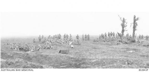 Stretcher bearers of the 8th Field Ambulance in the Warfusee region, August 1918. Photographer unknown, photograph source AWM E02843P