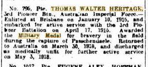 T W Heritage . Bravery on Field. Daily Mail Brisbane 22.7.1918 p7