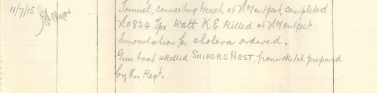 Tpr. Watts, K.E. KIA. War Diary 10 LH. Source AWM RCDIG1013541