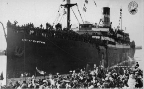 Troops arrive at Fremantle per 'City of Exeter' 16.8.1919. Photograph unknown, photograph source Fremantle Library