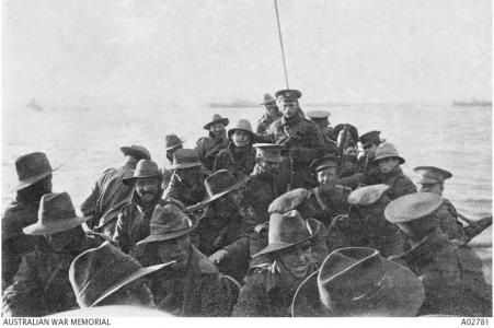 Troops being towed ashore at Gallipoli April 1915. Photographer unknown, photograph source AWM A02781