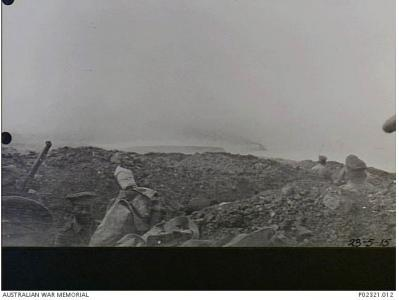 Troops in trenches at Gaba Tepe June 1917. Photographer H.C. Nott, photograph source AWM P02321.012