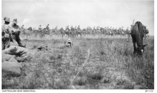 Troops of the Australian Light Horse moving forward during the Second Battle of Gaza, April 1917. Photographer unknown, photograph source AWM J0112