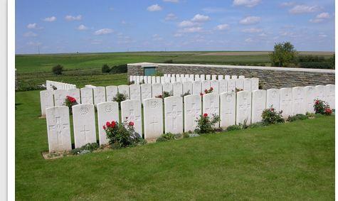 Vaulx Vraucourt Cemetery, Pas de Calais, France.  Photographer unknown, photograph source CWGC