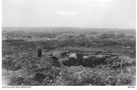 View of the old Mouquet Farm Battlefield December 1916. Phtoographer unknown, photograph sourced from AWM E00564