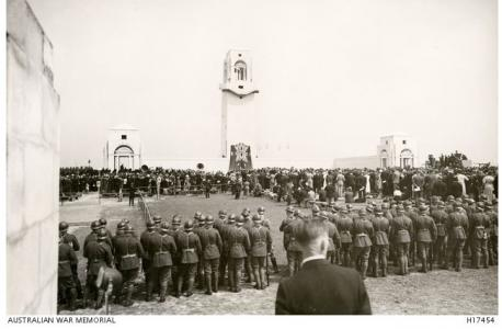 Villers-Bretonneux Australian Memorial, dedicated in 1938. Photographer unknown, photograph source AWM  H17454