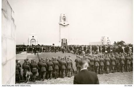 Villers-Bretonneux Australian Memorial, dedicated in 1938. Photographer unknown, photograph source AWM H17454