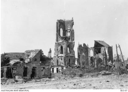 Villers-Bretonneux, ruined church 1918. Photographer unknown, photograph source AWM E02157