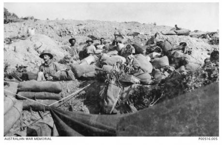 Walker's Ridge -10LH survivors after the 7.8.1915 Charge. Photo source AWM P0516.005
