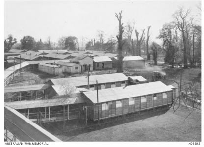 Wards at the No.1 General Hospital, Harefield, London 1918. Photographer unknown, photograph source AWM H03592