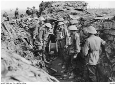 Westhoek Ridge 1917-  Signal Engineers prepare to lay lines. Photographer unknown, photograph source WM E00809