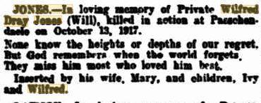 Wilfred Dray Jones. Obituary. Source The West Australian 13.10.1919 p1