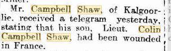 Wounded Lieut. C.C. Shaw. Kalgoorlie Miner 6.11.1917. p4