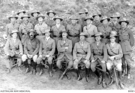 Group portrait of the 10 LH Regiment. Lieut. Astley Bertram Cornelis Hamersley 2nd from left rear row. Photographer unknown, photograph source AWM B00814