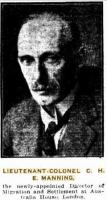 Col. Charles Henry Ernest Manning. Photographer unknown, photograph source The Telegraph  20.7.1928 p17