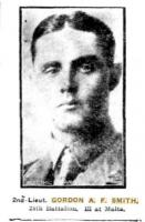 Gordon A F Smith. Photograph sourced from  the Sunday Times 13.2.1916 p1