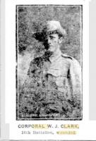 Cpl. W J. Clark. Photo source Sunday Times. Photo source  15.1.1916 p17