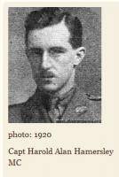 Cptn. Harold Allan Hamersley. RFC.Photo source ' A Fleeting Peace' website