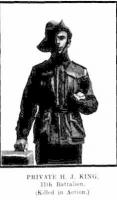 H J King . KIA.  Photograph sourced Western Mail 9.7.19165 p5