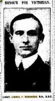 Lieut. Lionel F Robinson. Photograph source The Argus (Melb) 14.1.1916 p5