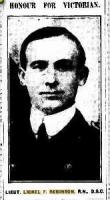 Lieut. Lionel F Robinson. Photograph source The Argus (Melb) 14.1.1916 p5