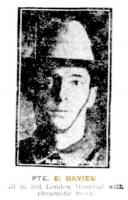 Private E. Davies. Photograph source Sunday Times 25.2.1917 p6